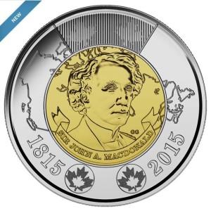 Sir John A Macdonald 2015 toonie