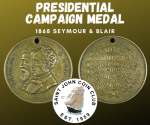 Seymour and Blair 1868 campaign medal